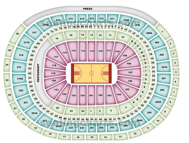 Philadelphia 76ers Seating Chart for Wells Fargo Center